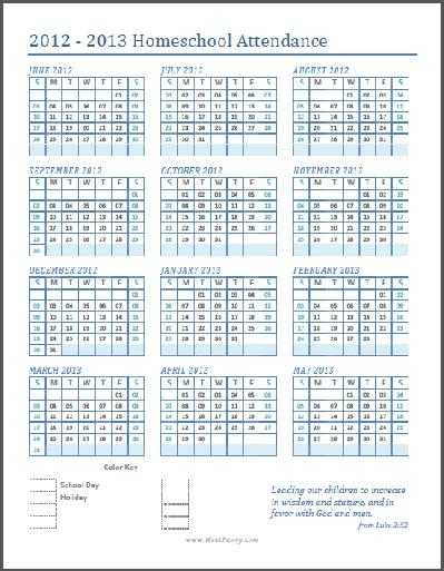 Free Printable Homeschool Attendance Calendar Meet Penny