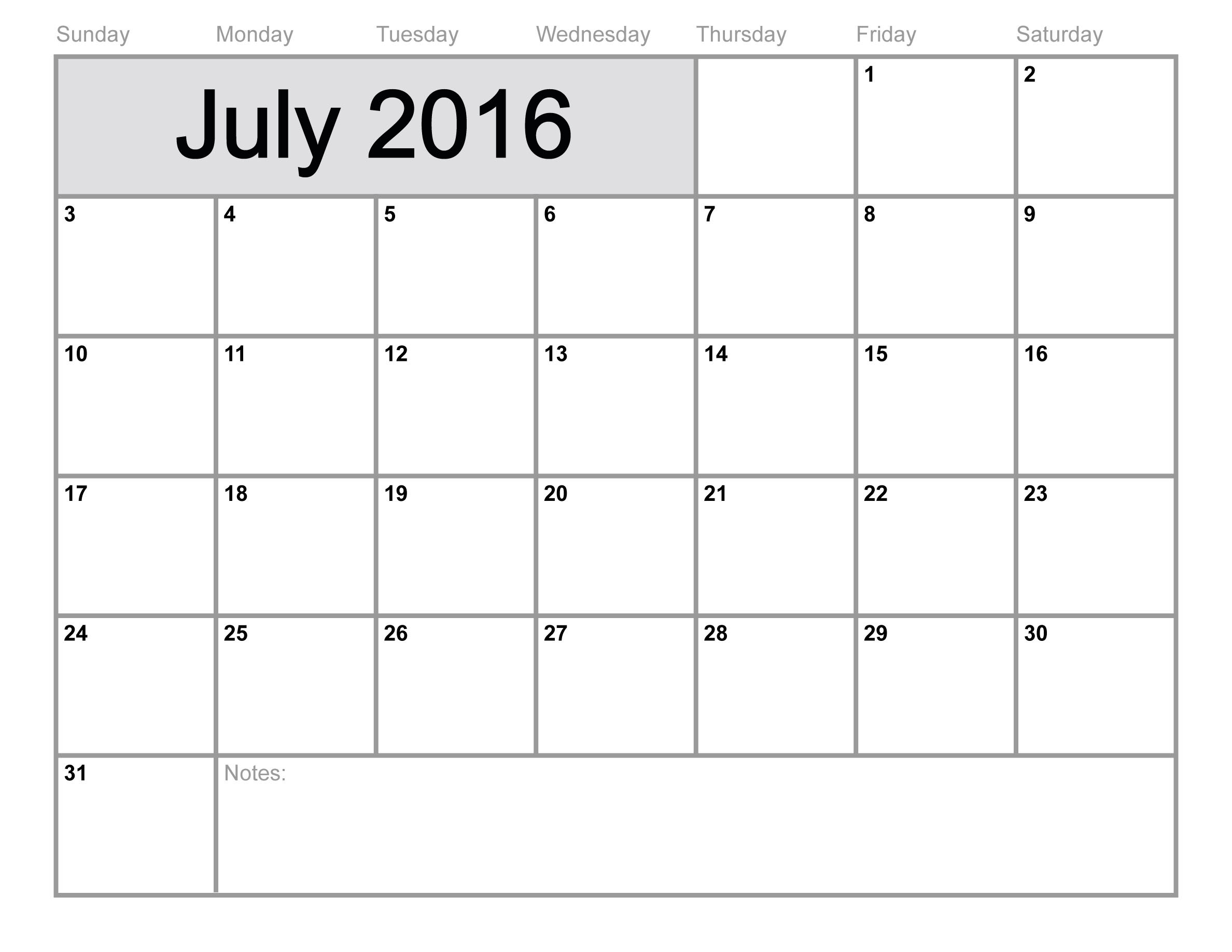 July 2016 Calendar Printable Monthly Blank Calendar 2016 Template