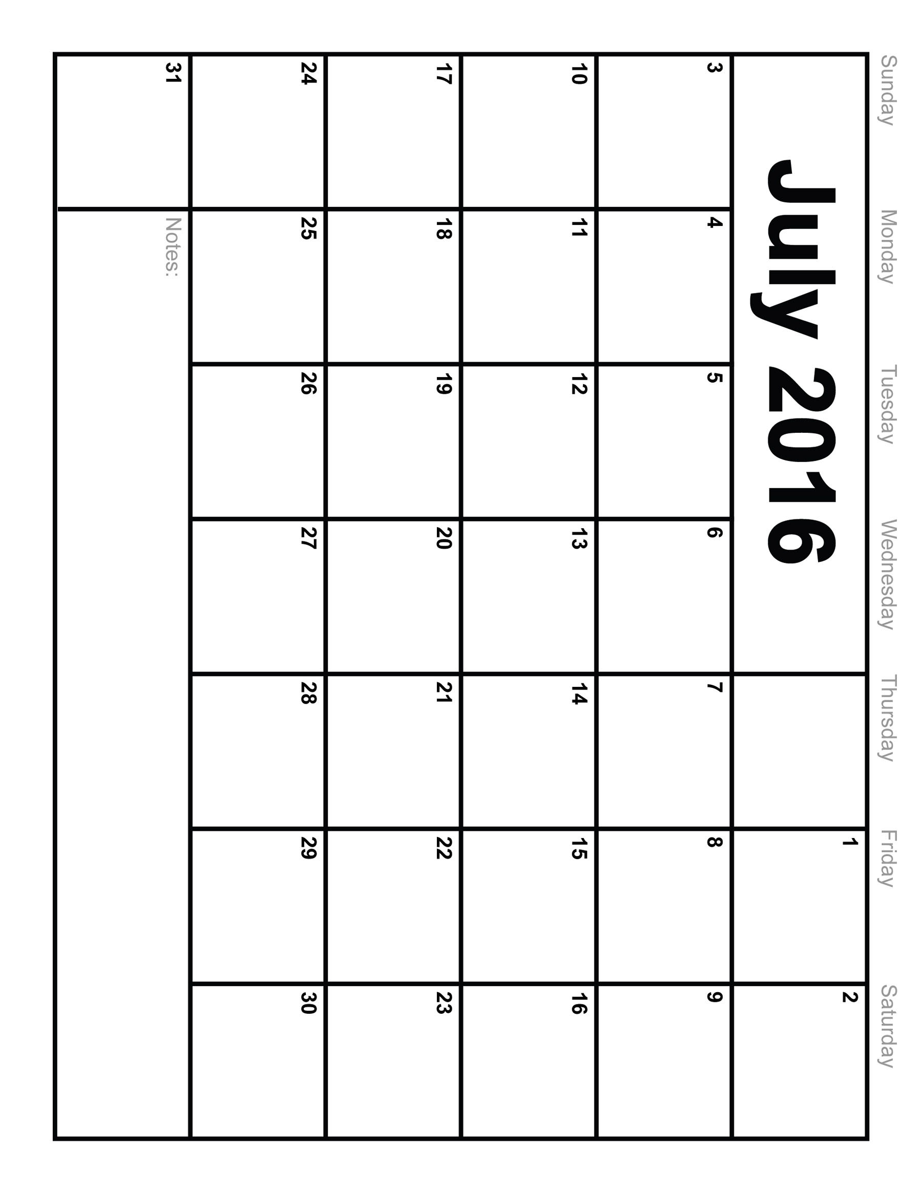 Calendar July 2016 Blank Template Templates Free