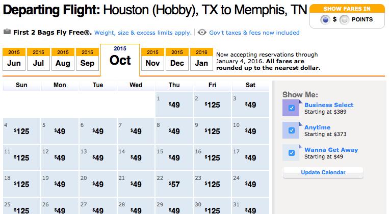 Southwest Airlines Low Fares Calendar Academic Calendar
