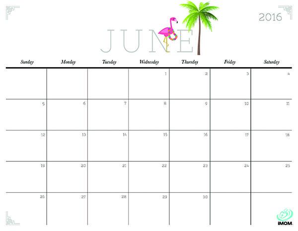 Summer Calendar 2016 Printable Free Calendar Template 2018