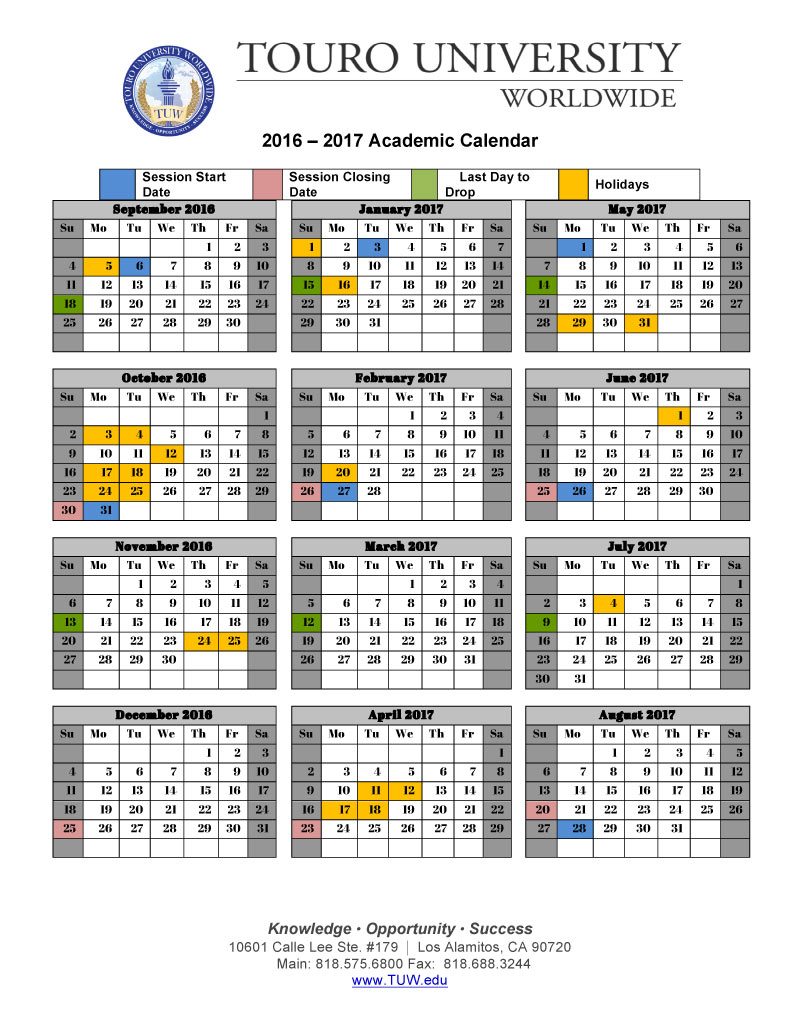 Academic Calendar | Touro University Worldwide