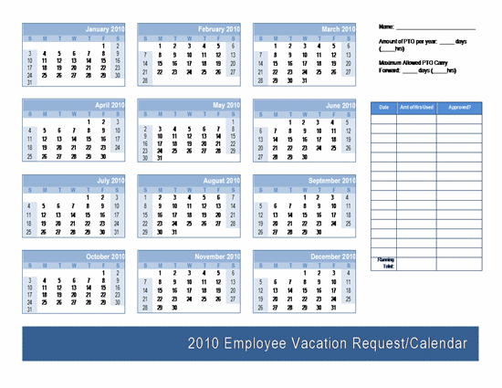 Employee Vacation Request / Calendar Template | Calendars | Ready