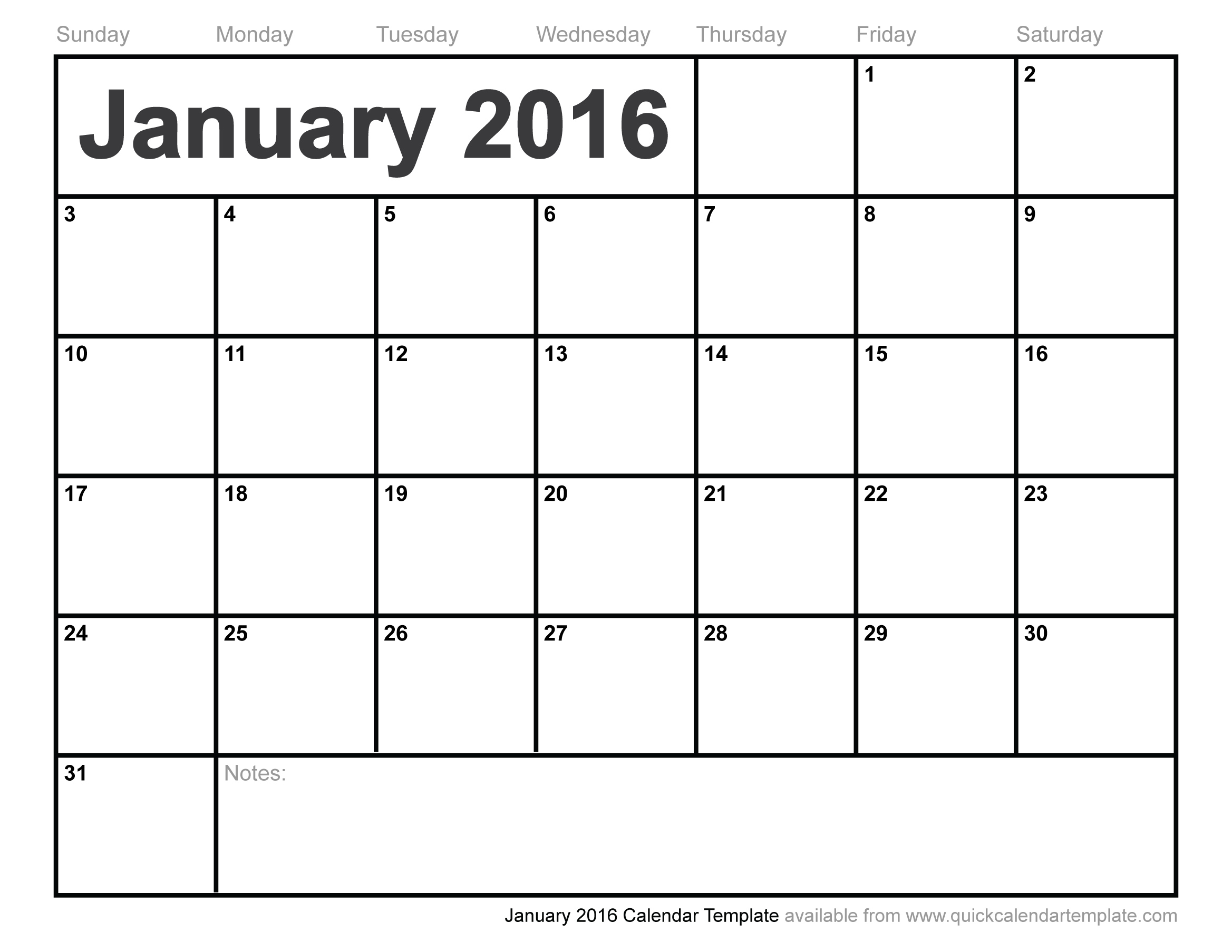 Free 2016 Monthly Calendar Template