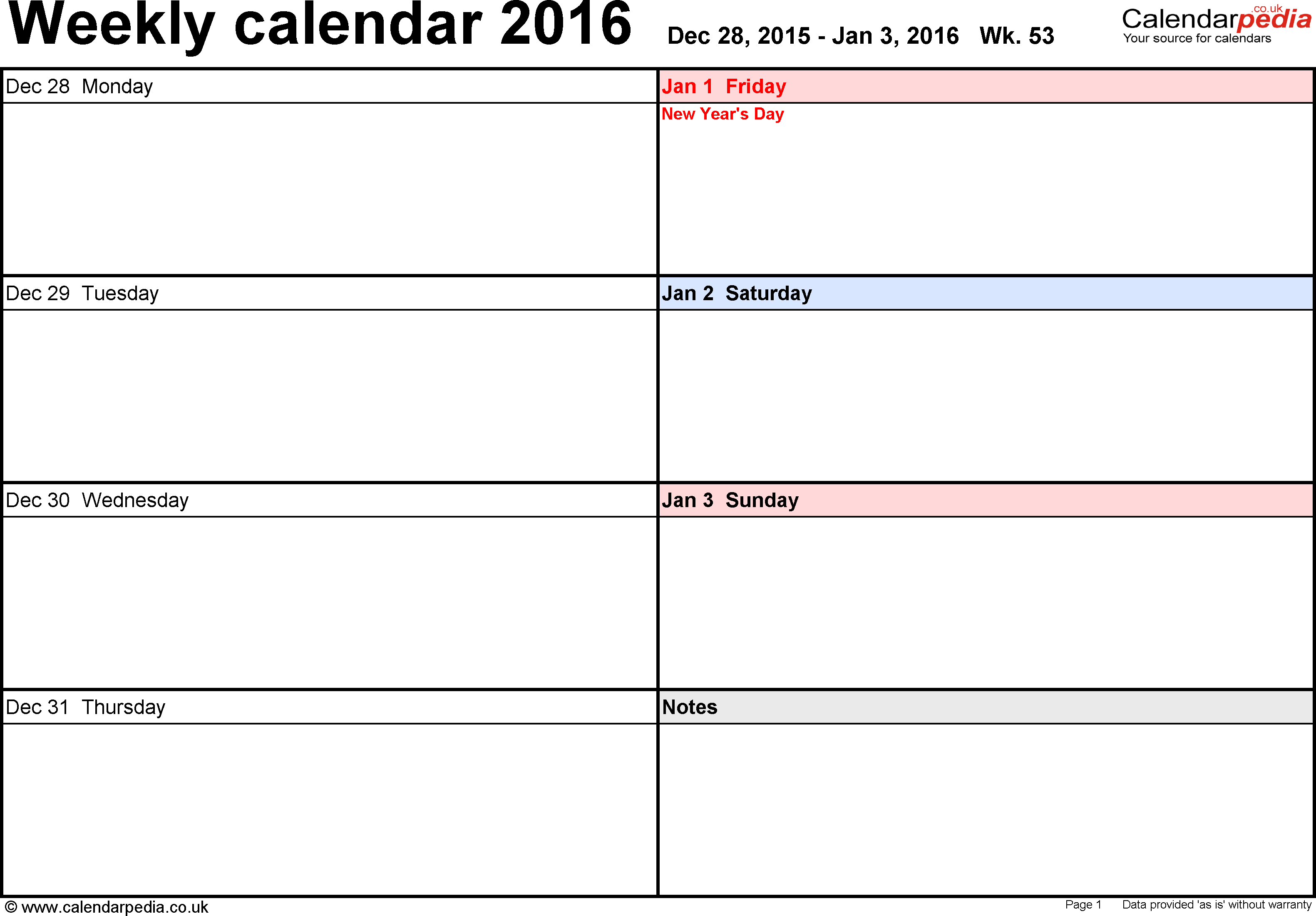 Weekly calendar 2016 UK free printable templates for Word