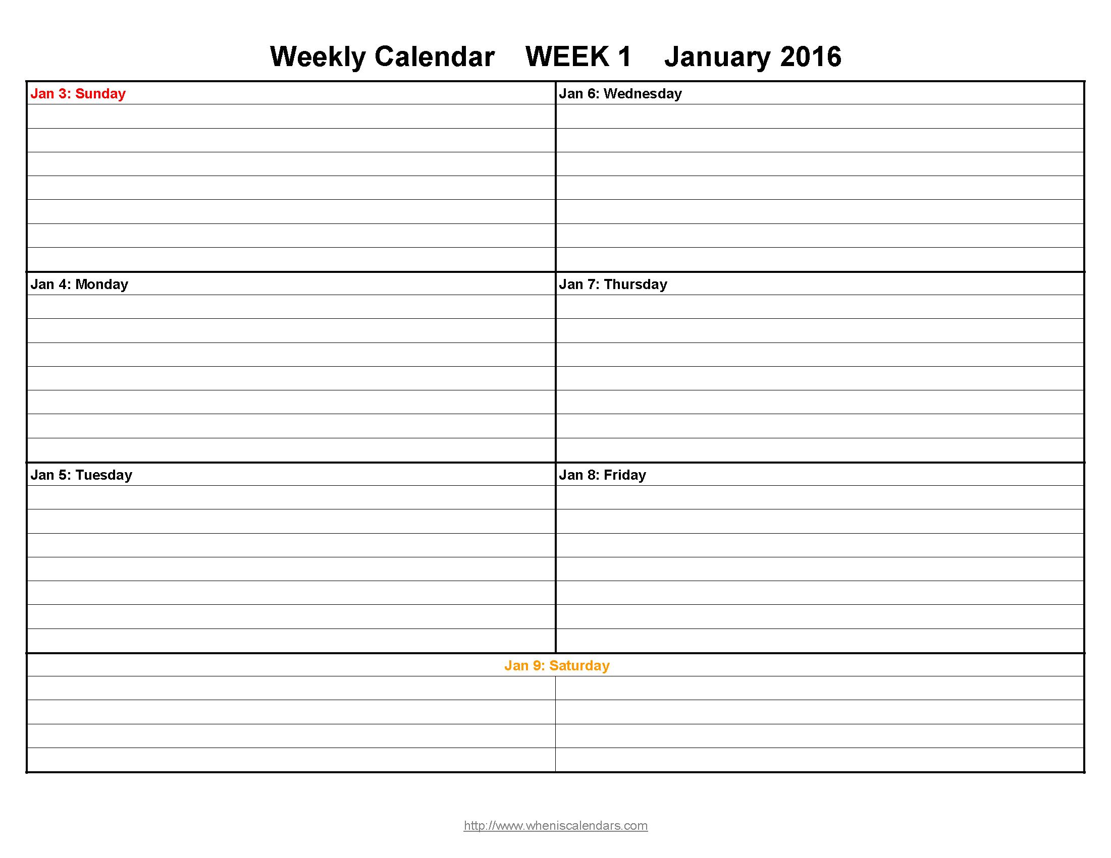 Printable Weekly Calendar 2016 When is Calendar