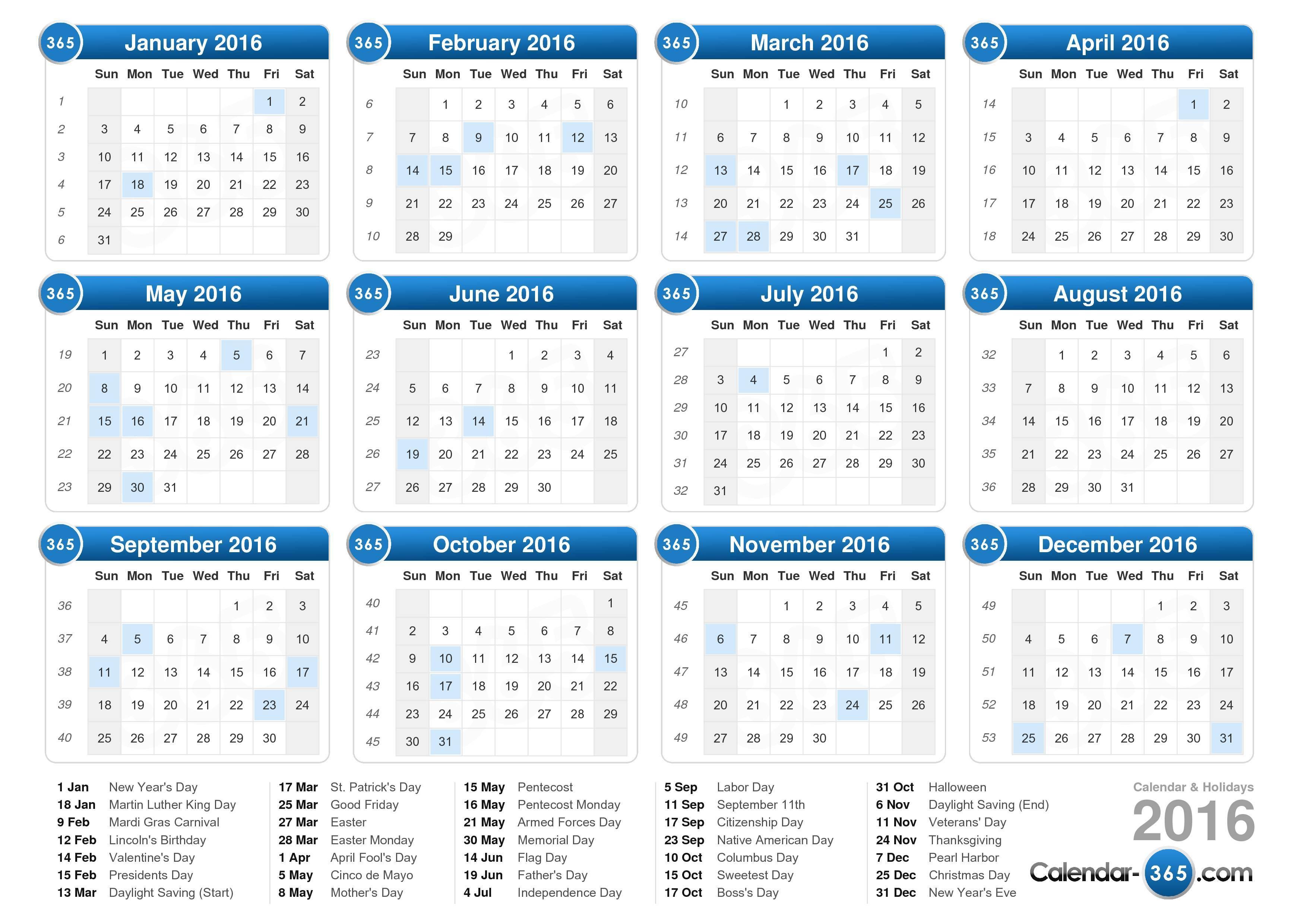 Calendars That Work – 2017 printable calendar