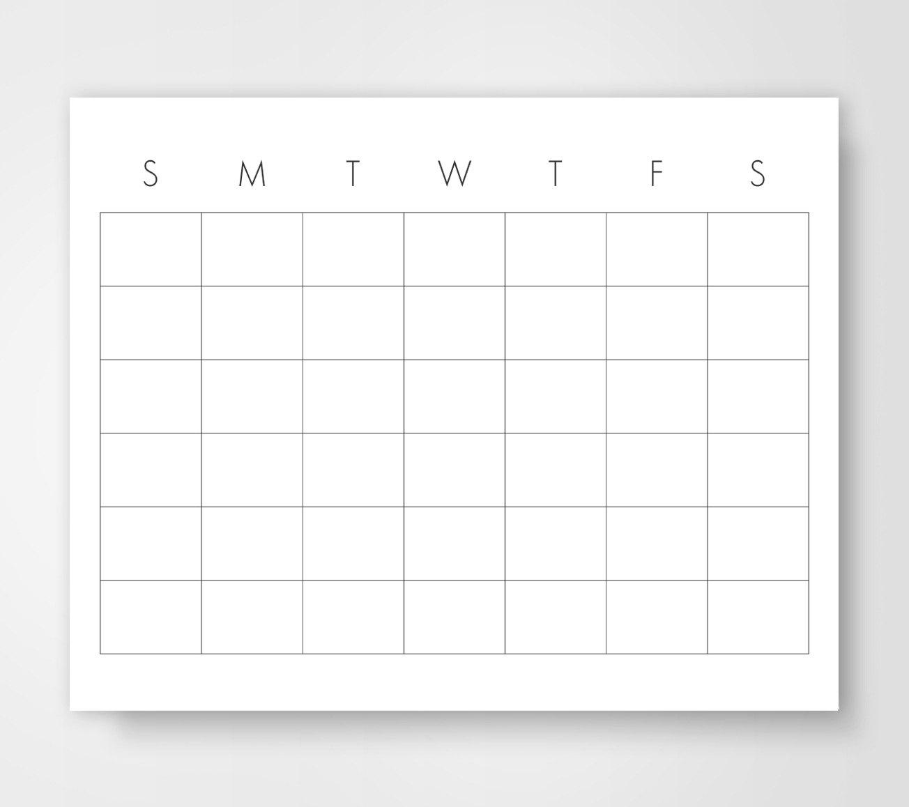 8 X 11 Blank Calendar | 2017 Calendar Printable