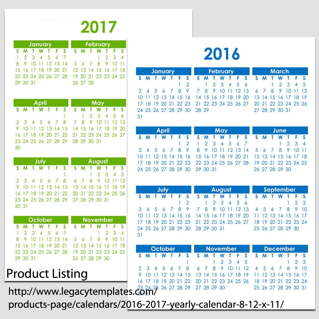 Calendar 8.5 X 11 | 2017 Calendar Printable