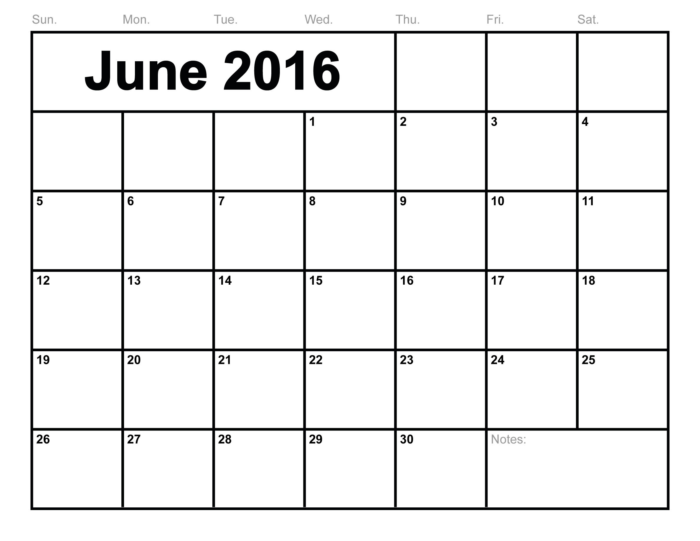 June 2016 Printable Calendar landscape/ A4 / Portrait | Printable