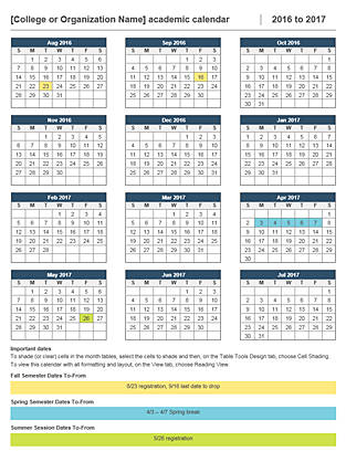 2016 2017 academic calendar Office Templates