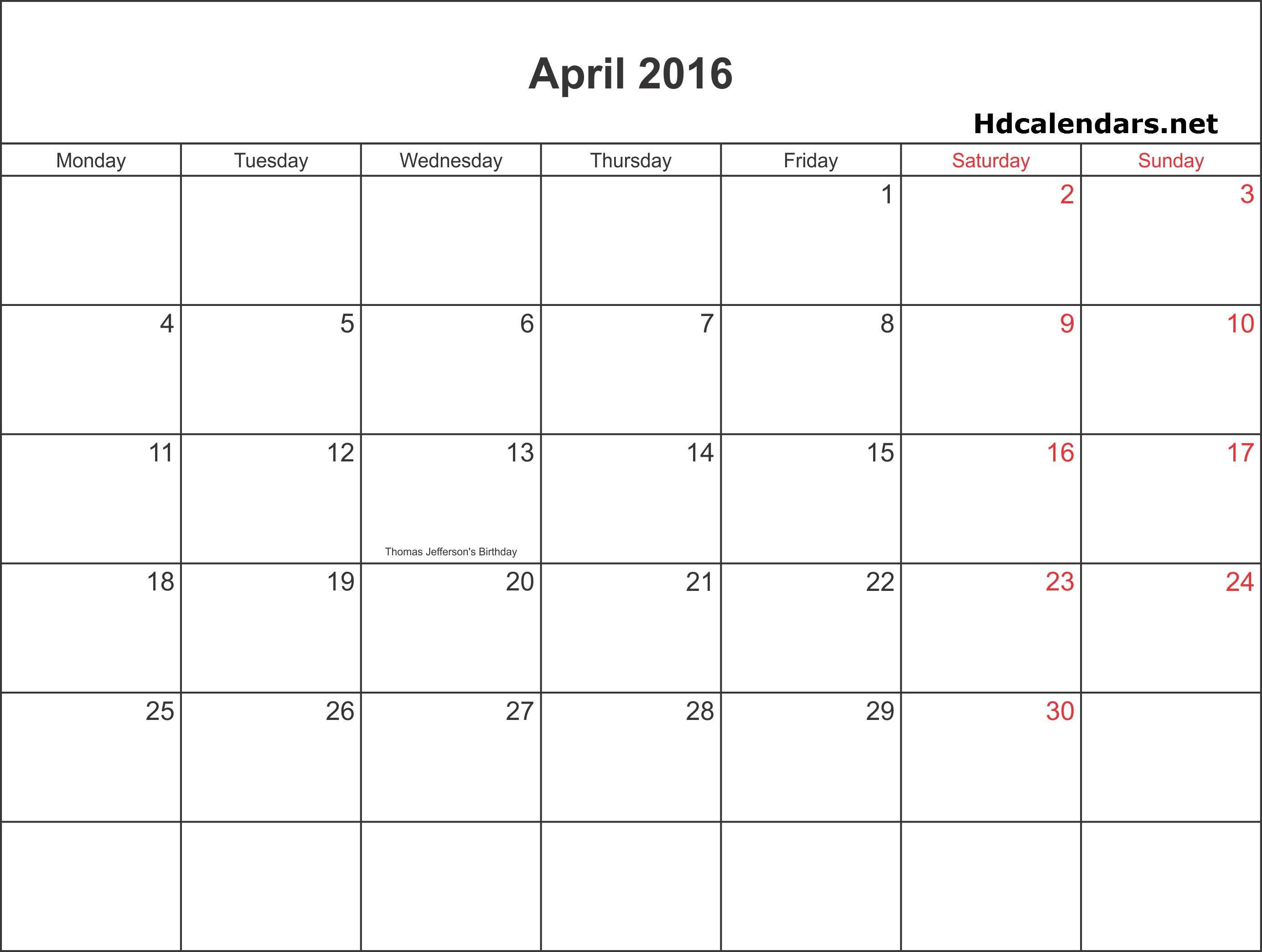 April 2016 Calendar In Word