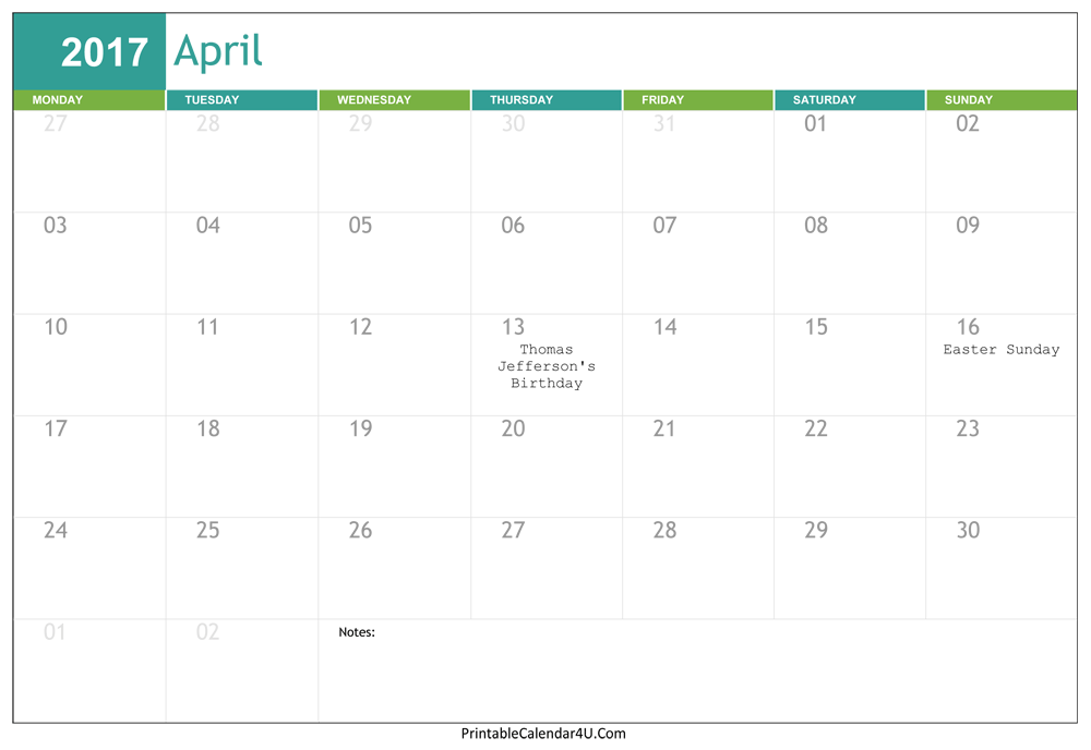Editable April 2017 Calendar Word, PDF | Monthly Calendar 2017