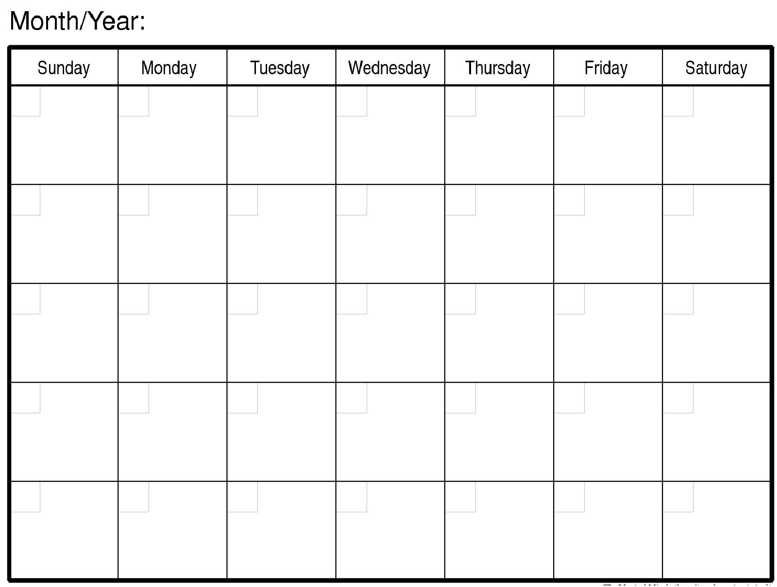 blank calendar month printable free calendar template 2018. Black Bedroom Furniture Sets. Home Design Ideas