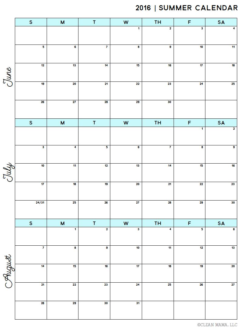 Free Summer 2016 Calendar Clean Mama