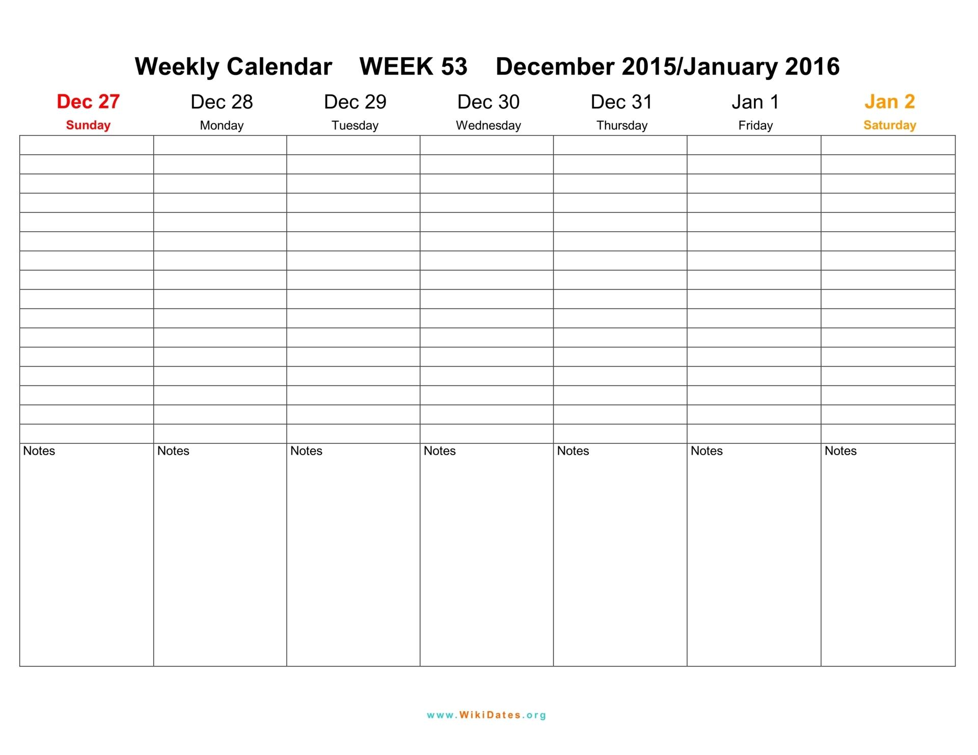 Weekly Calendar 2016 2017 2018 | WikiDates.org