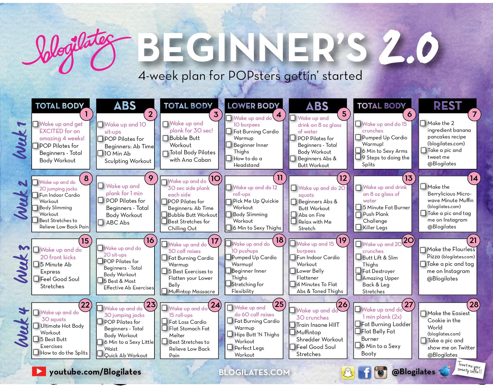June Calendar Ilates : Ilates beginner calendar print template