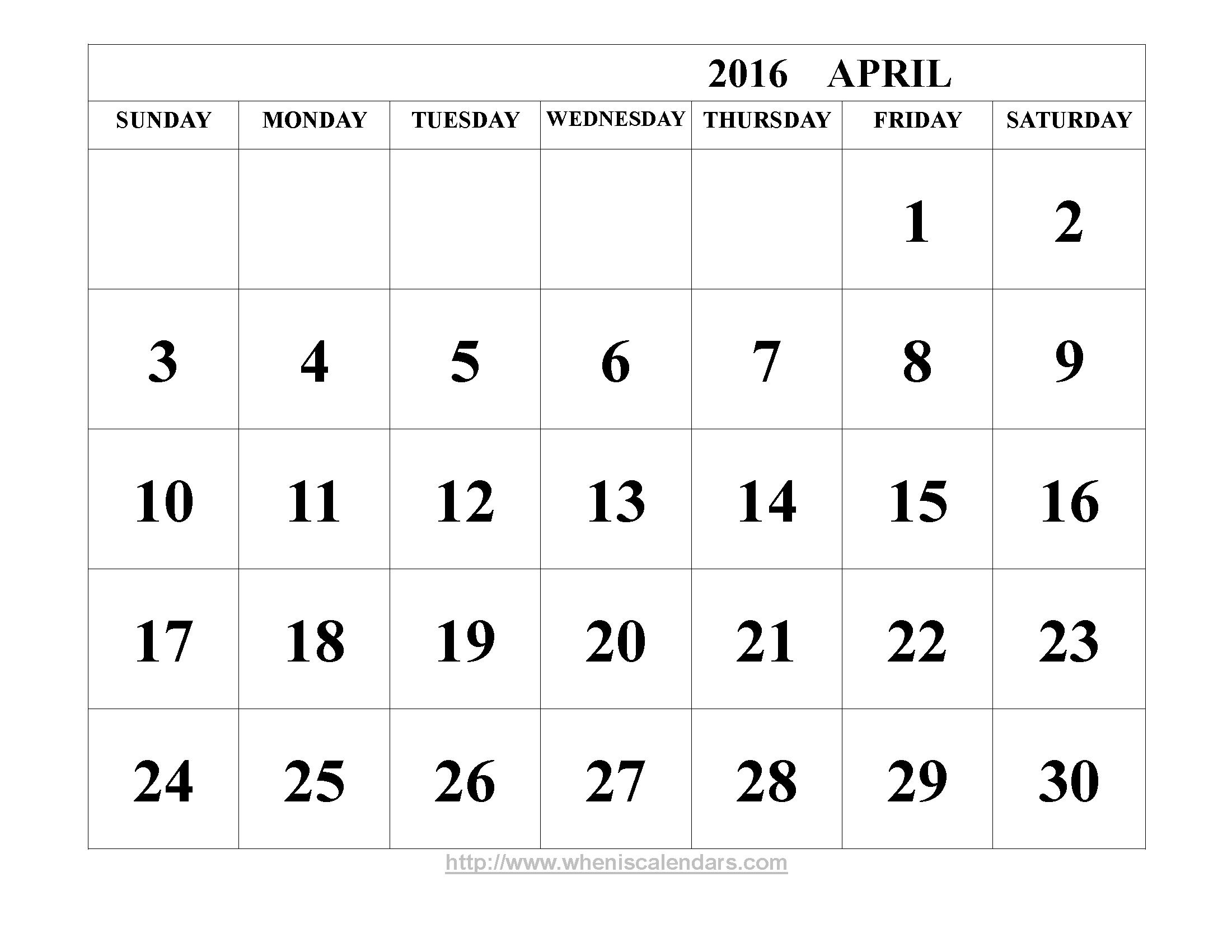 April 2016 Calendar Printable Template Word PDF Image