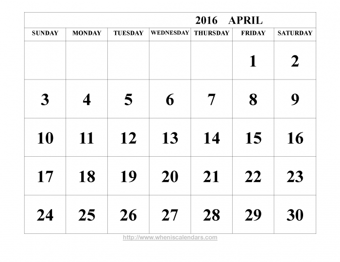 Bold Printable Calendar * Calendar Printable Template