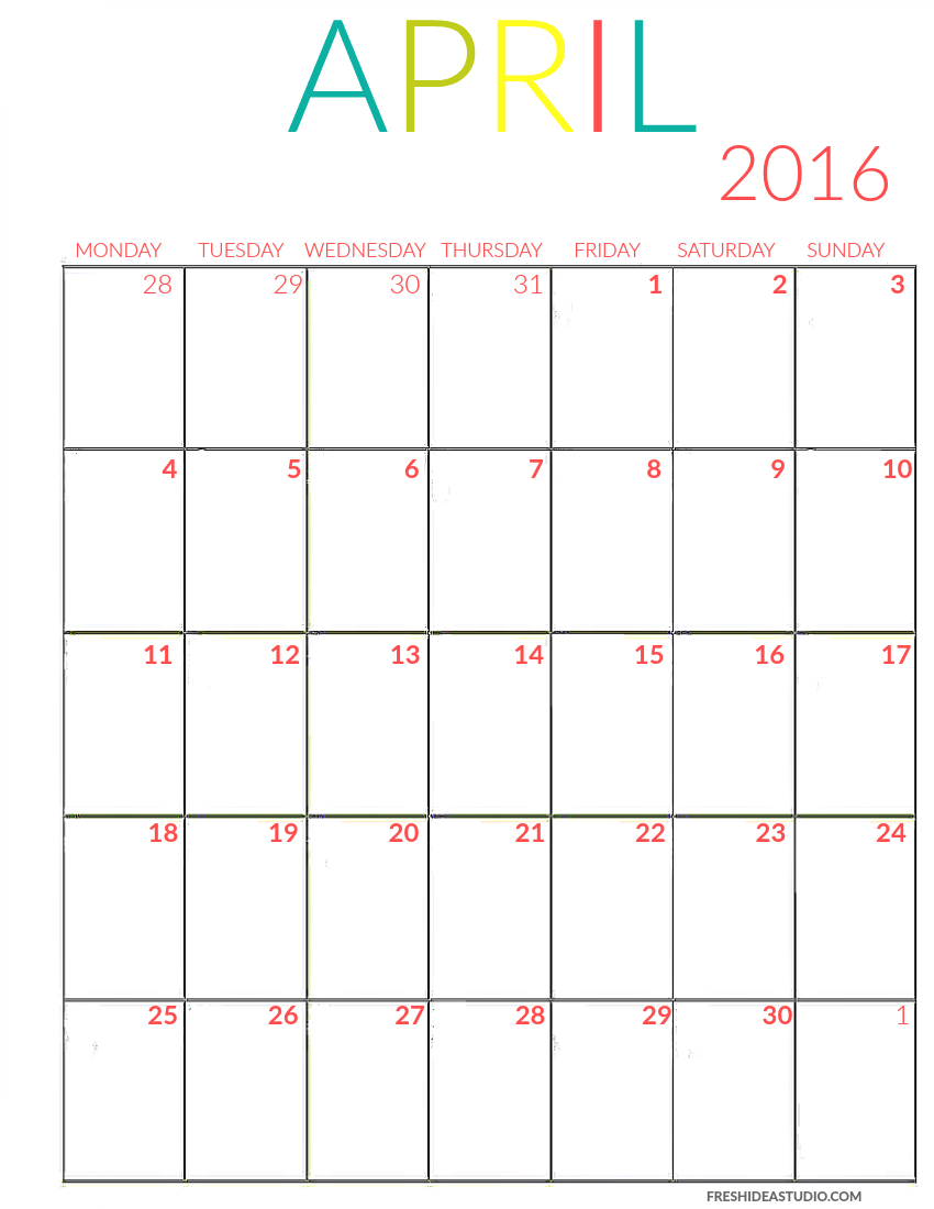 2016 printable Calendar | Mondays, Studios and Colors