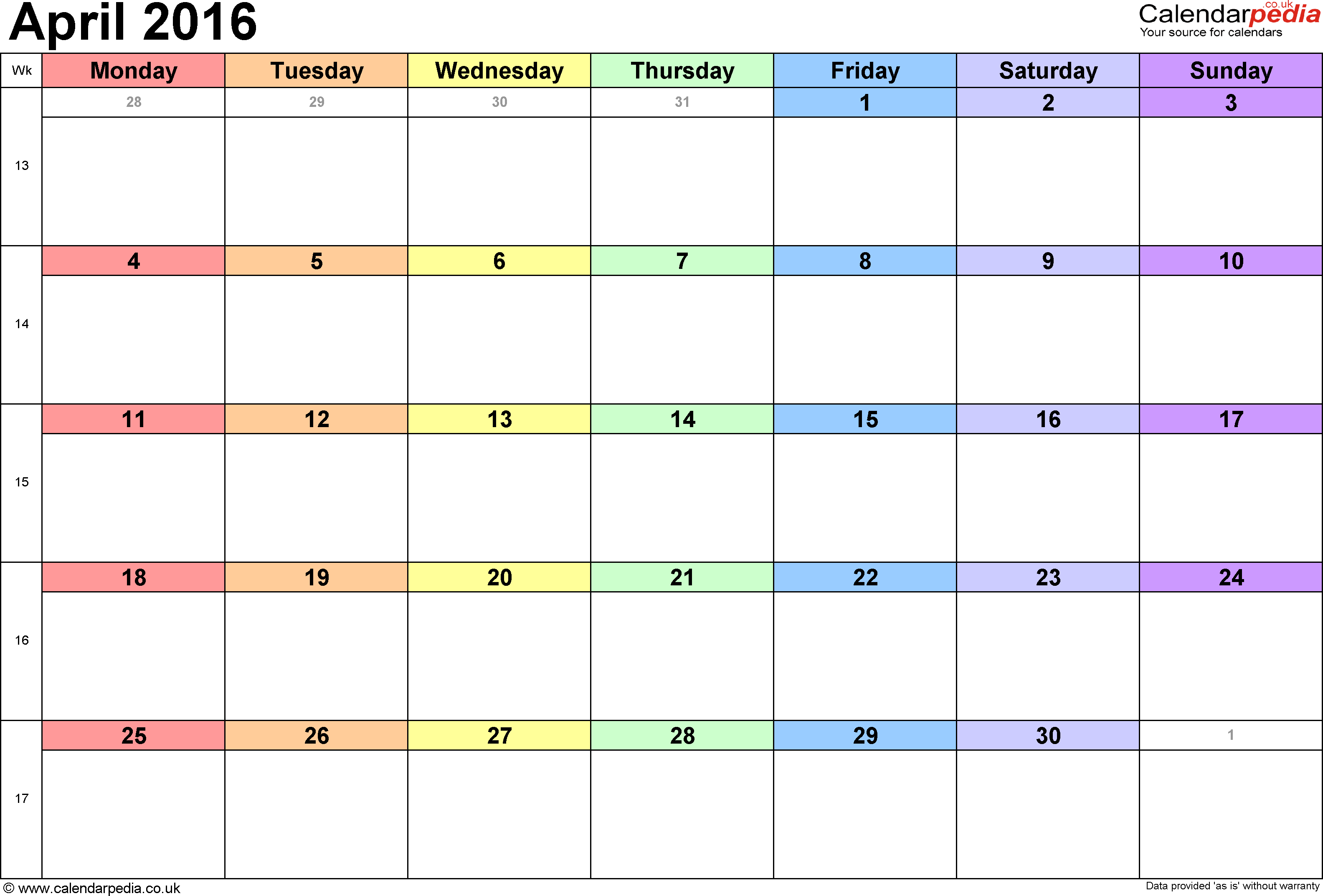 Calendar April 2016 UK, Bank Holidays, Excel/PDF/Word Templates