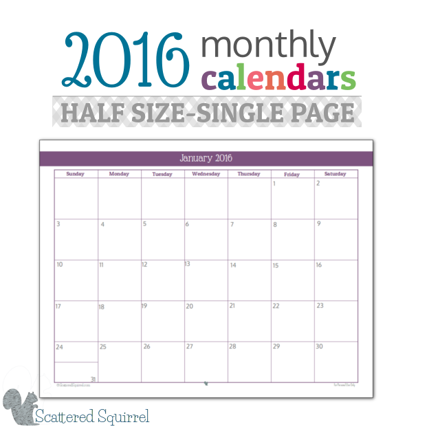 Half Size 2016 Monthly Calendar Printables | Planners, Year