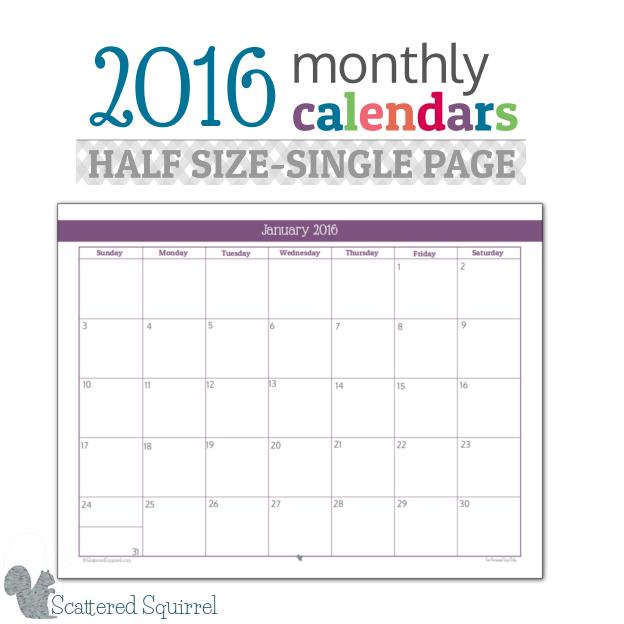 Half Size 2016 Monthly Calendar Printables