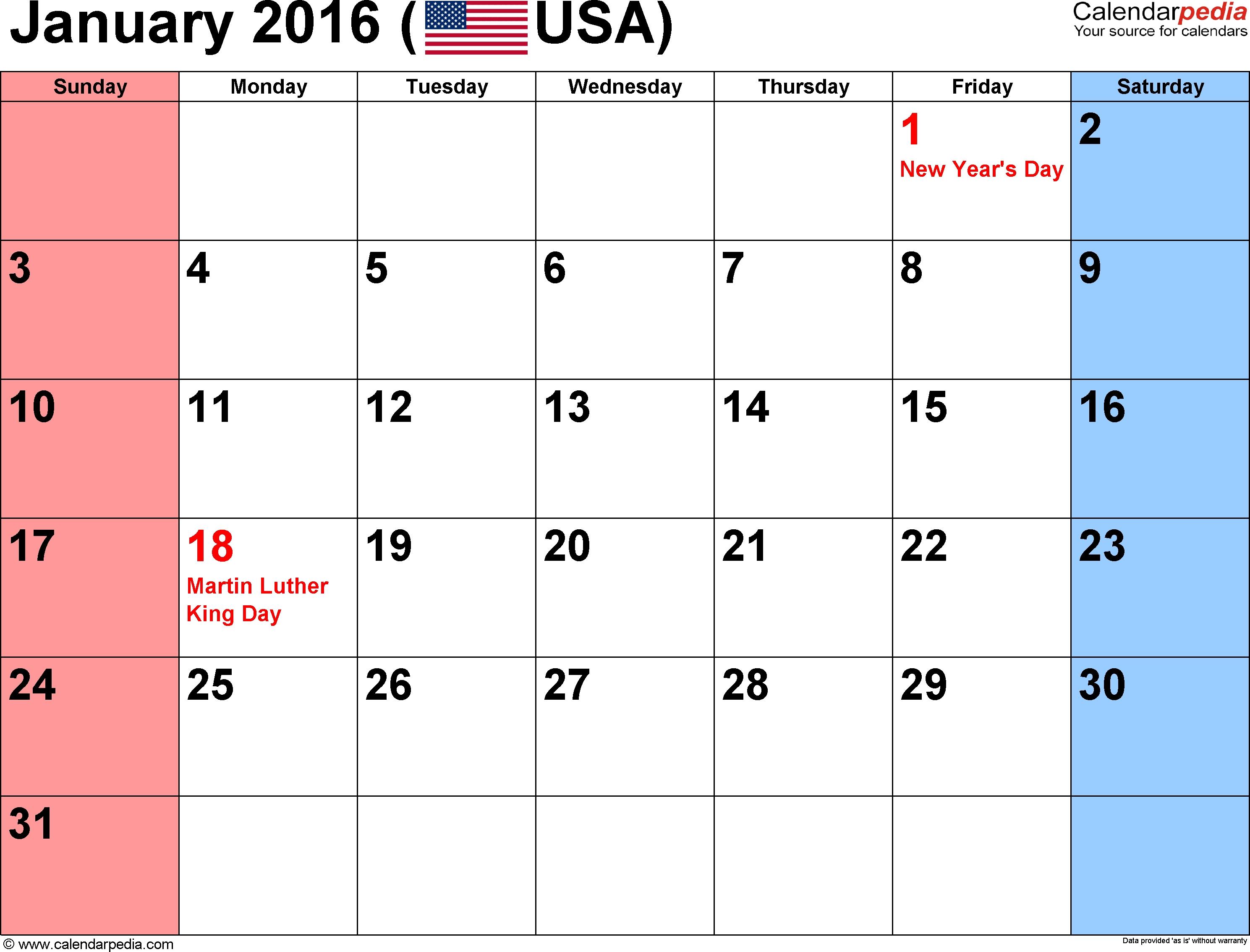 Everyday Is A Holiday 2016 Calendar : Free Calendar Template
