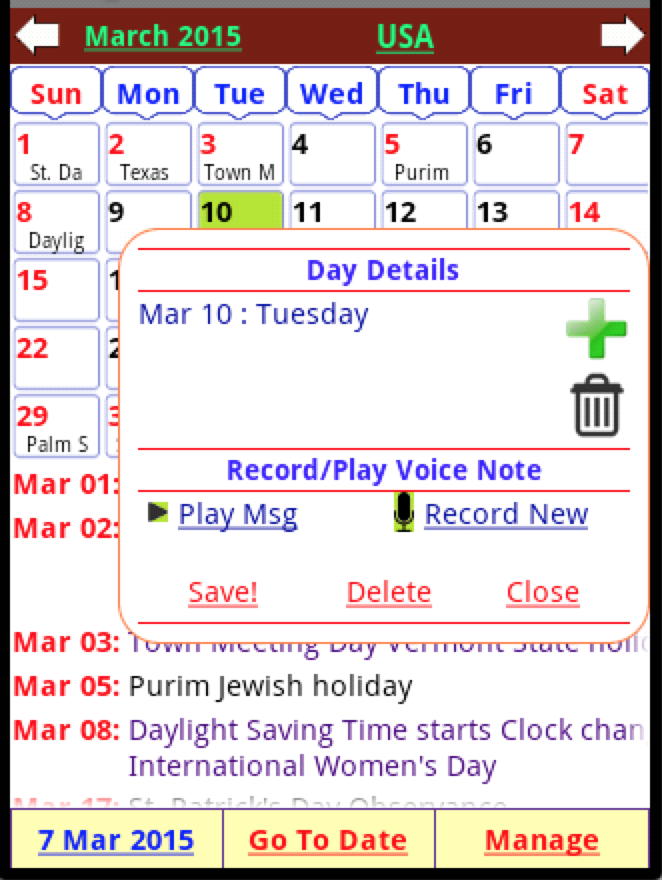 Holiday Calendar Free Android Apps on Google Play