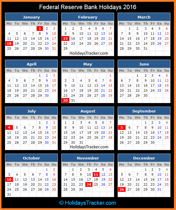 Federal Reserve Bank Holidays 2016 | Holidays Tracker
