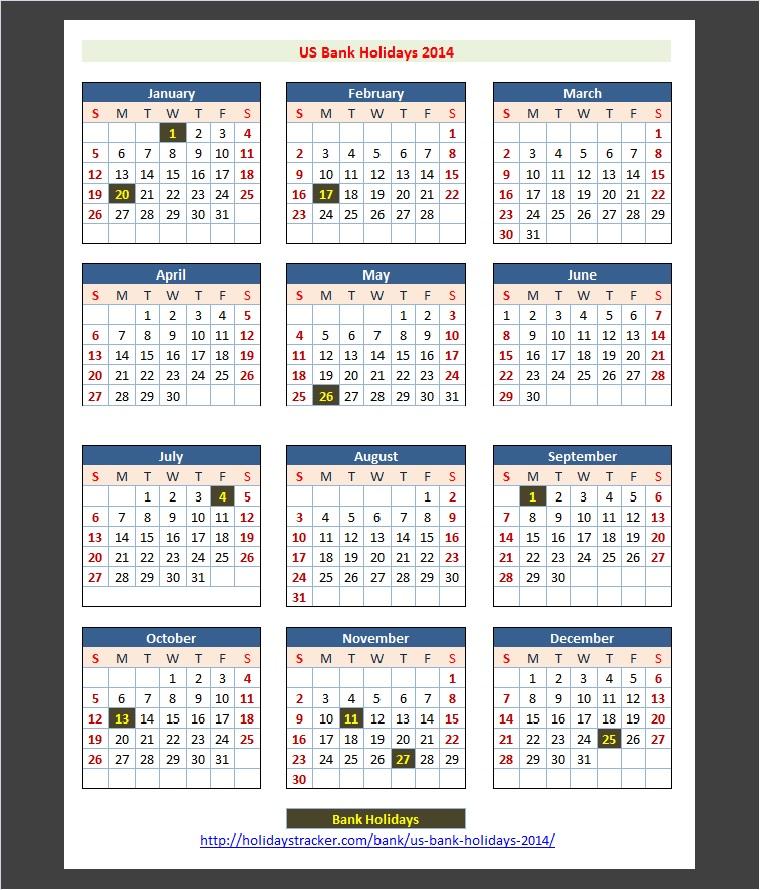 Federal Reserve Bank Holidays 2014   Holidays Tracker