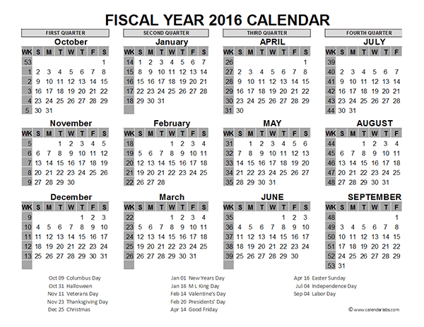 2016 Fiscal Year Calendar USA 09 Free Printable Templates