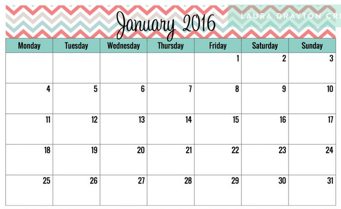 Cute Calendar January 2016 : Free cute calendar template