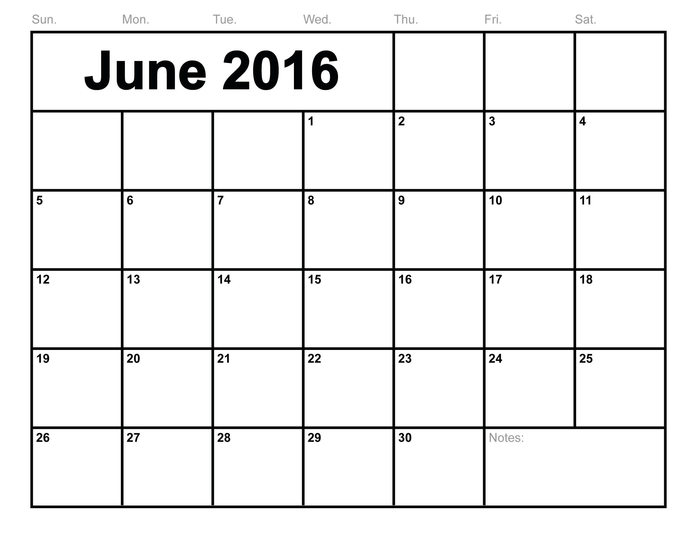 June 2016 Blank Calendar Template Templates Free