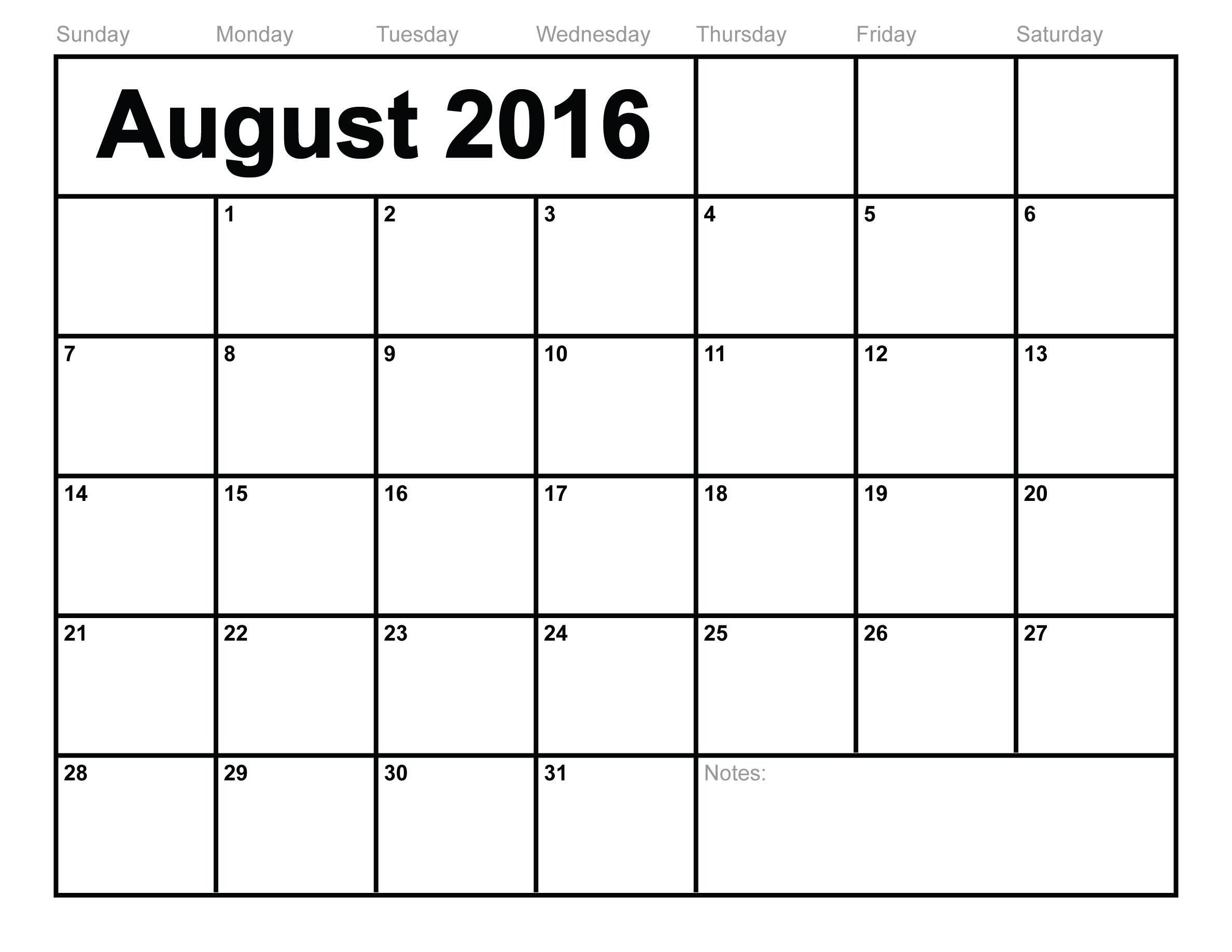 August 2016 Printable Calendar   Blank Templates   Printable