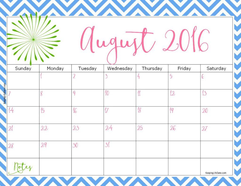 august 2016 printable calendar   Summertime   Pinterest