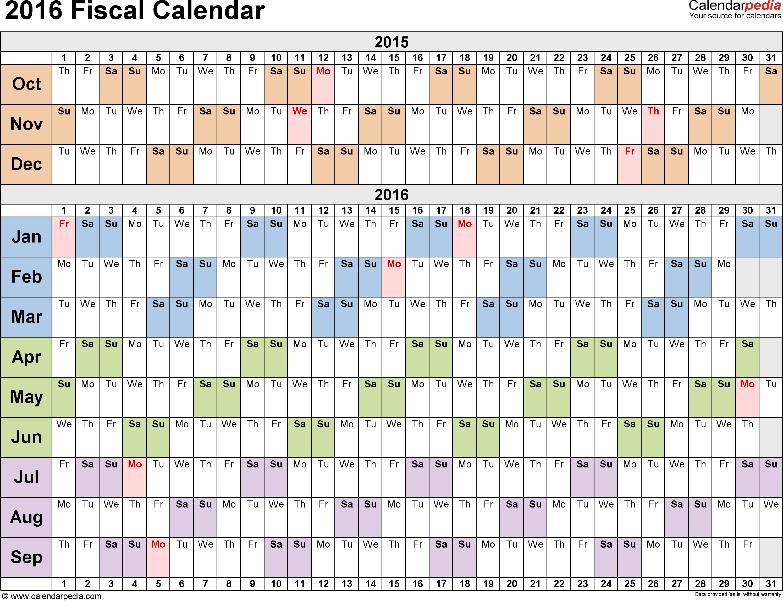 2016 Fiscal Year Calendar USA 09 Free Printable Templates