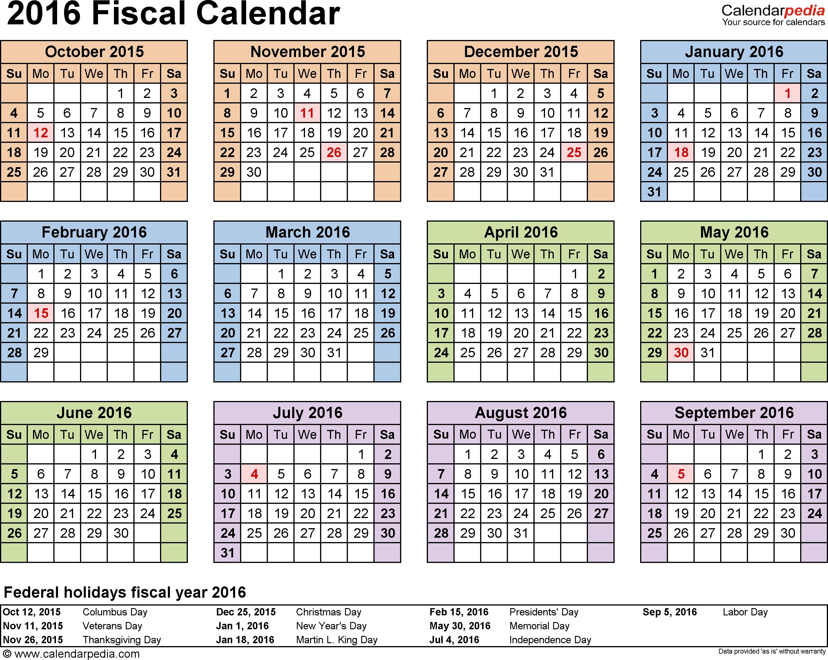 Fiscal calendars 2016 as free printable PDF templates