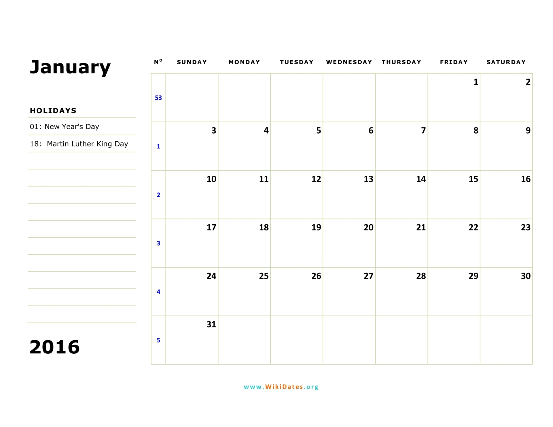 2016 Calendar | WikiDates.org