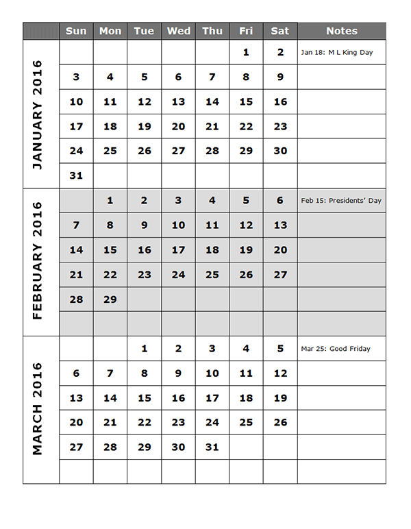2016 Quarterly Calendar Template 14P Free Printable Templates