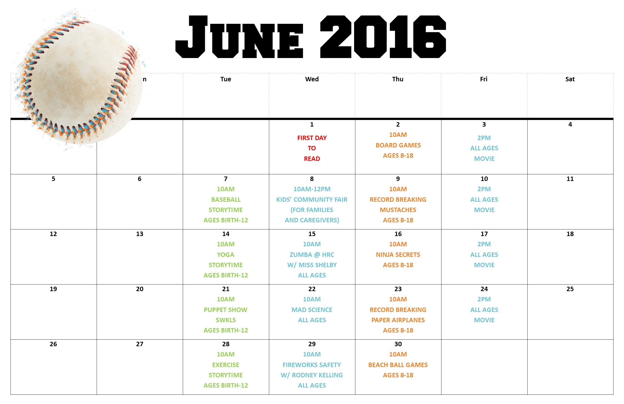 2016 Summer Reading Schedule