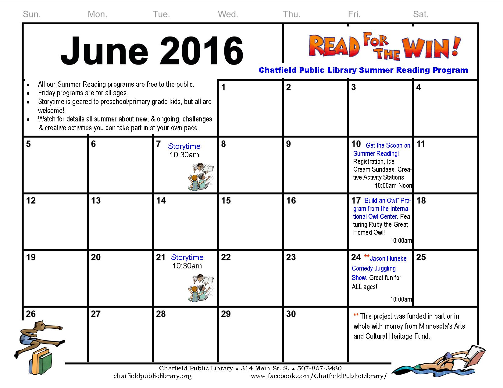 June Calendar Girl Read : Summer reading calendar template