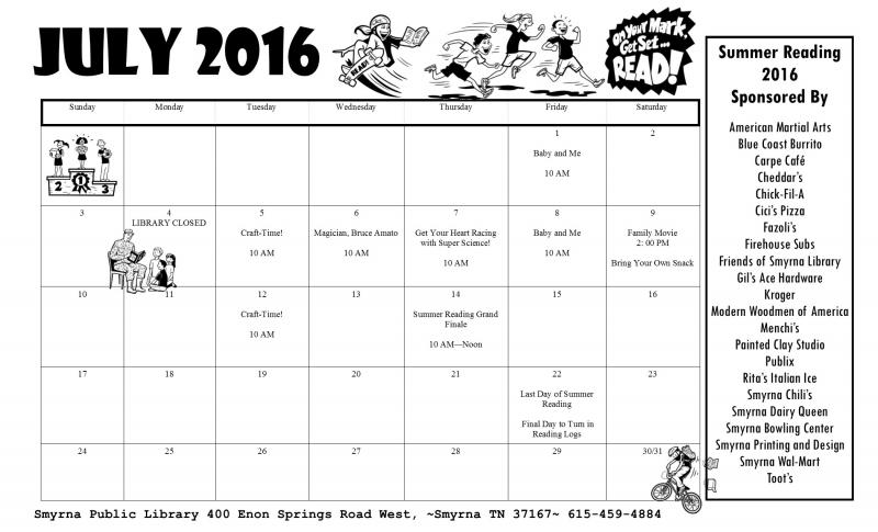 Smyrna Summer Reading Calender