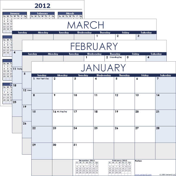 Calendar Templates For Excel : Vertex free calendar templates template
