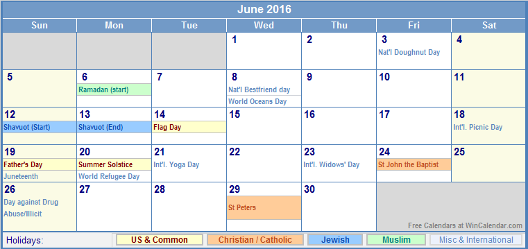 June Calendar Wincalendar
