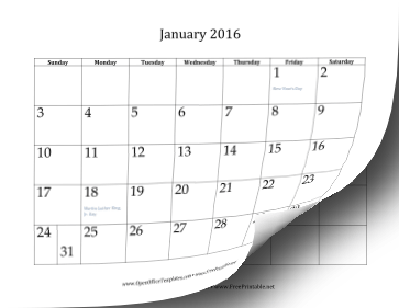 2016 12 Month Calendar OpenOffice template