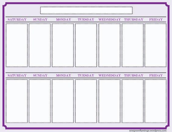 2 Week Blank Calendar Template – Printable Editable Blank