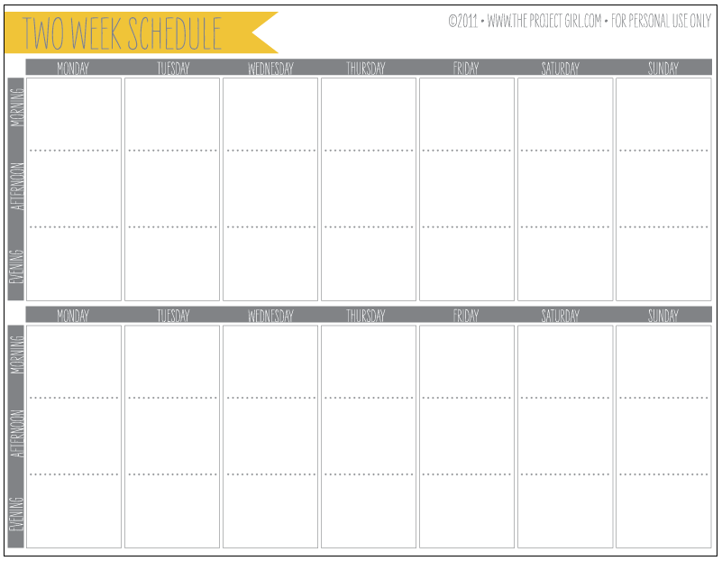Free 2 Week Schedule Download | Jenallyson The Project Girl