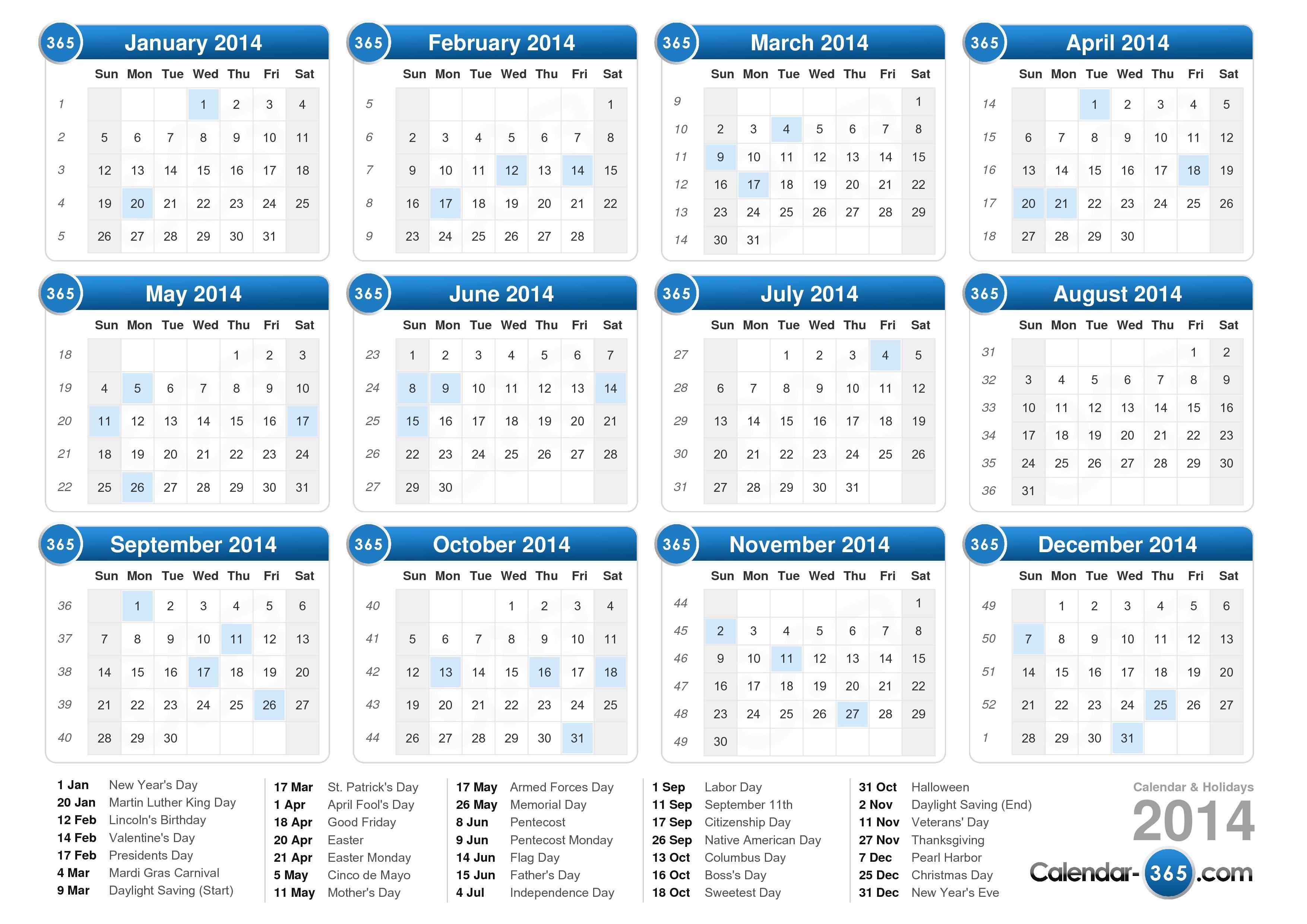 2014 Calendar | templates free printable