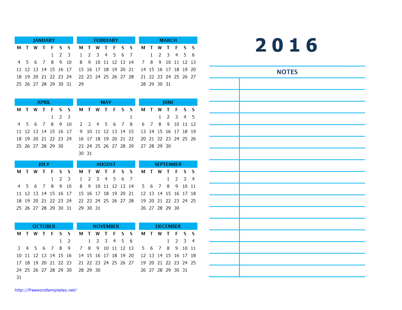 2016 Calendar Templates | Freewordtemplates.net